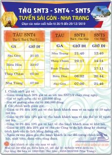 Chạy thêm tàu SNT3/4/5 (Sài Gòn – Nha Trang) vào các ngày cuối tuần